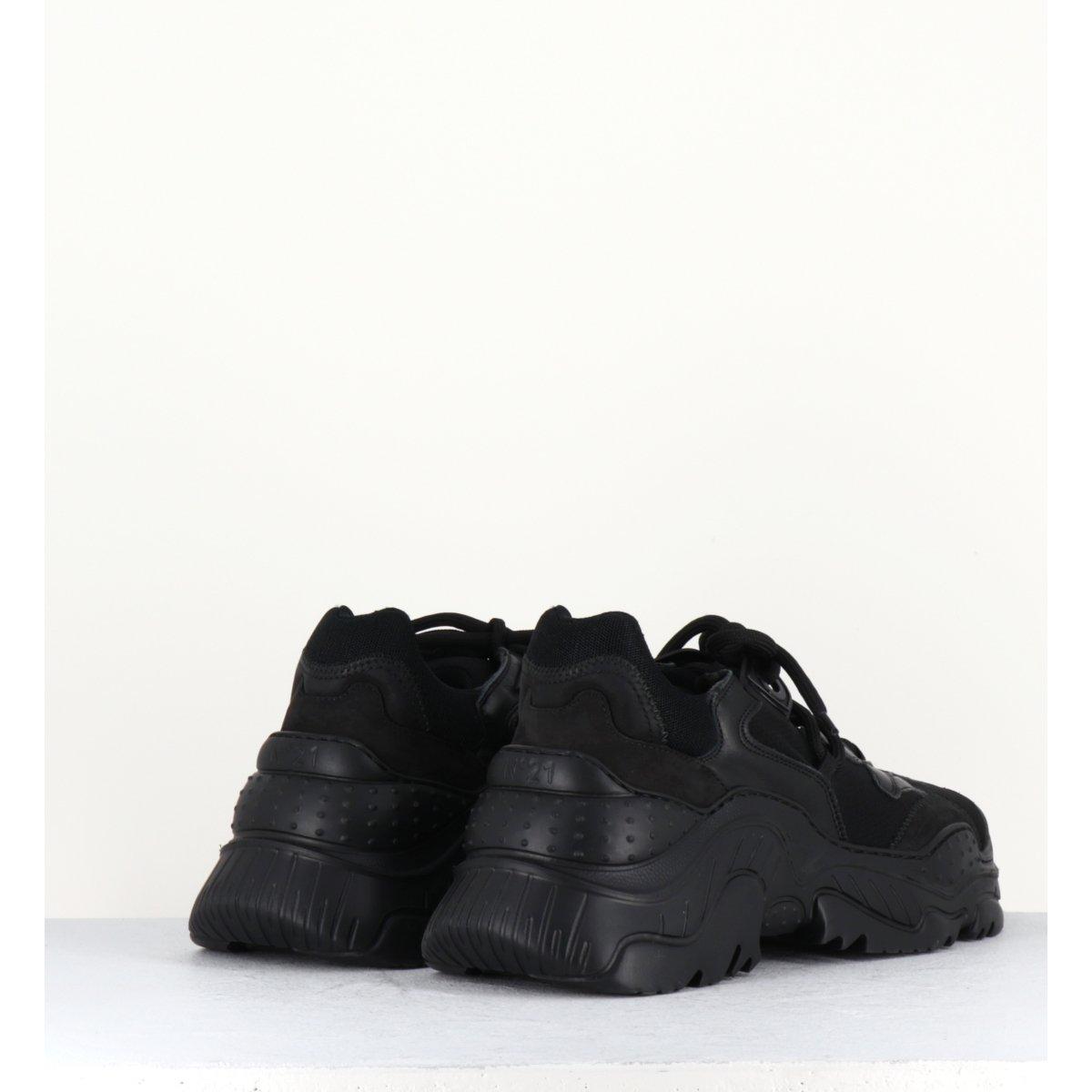 Sneakers à semelles épaisses débordantes noir N°21 pour hommes - 118FN