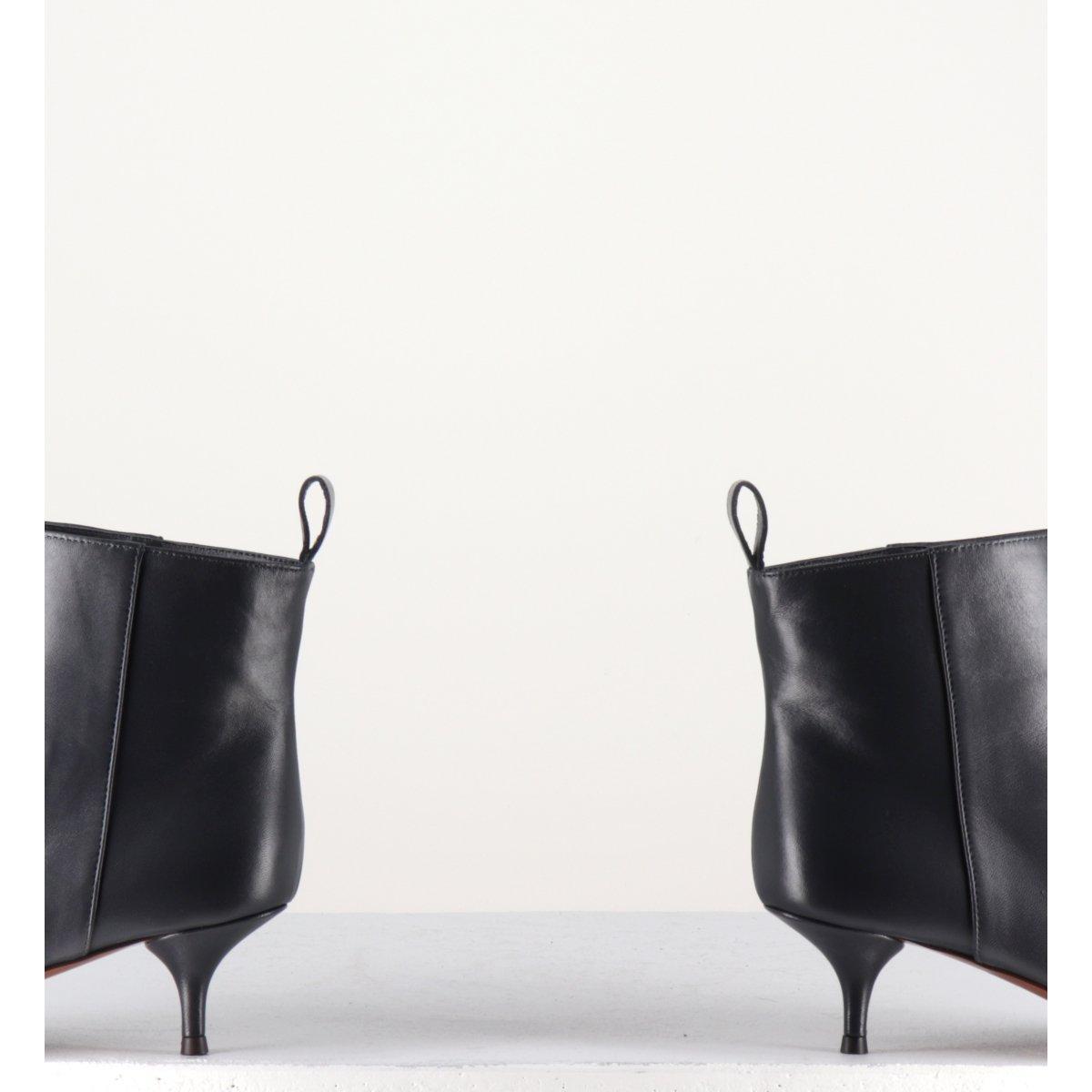 Bottines pointues en cuir gris et petit talon aiguille Lautre Chose LDH004