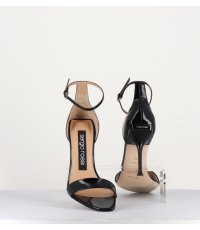 Sandales à talons en cuir verni noir Sergio Rossi sr Milano- A83331