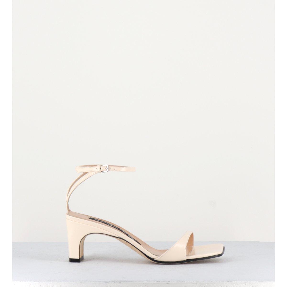 Sandales à talon en cuir glacé blanc Sergio Rossi - A77970B