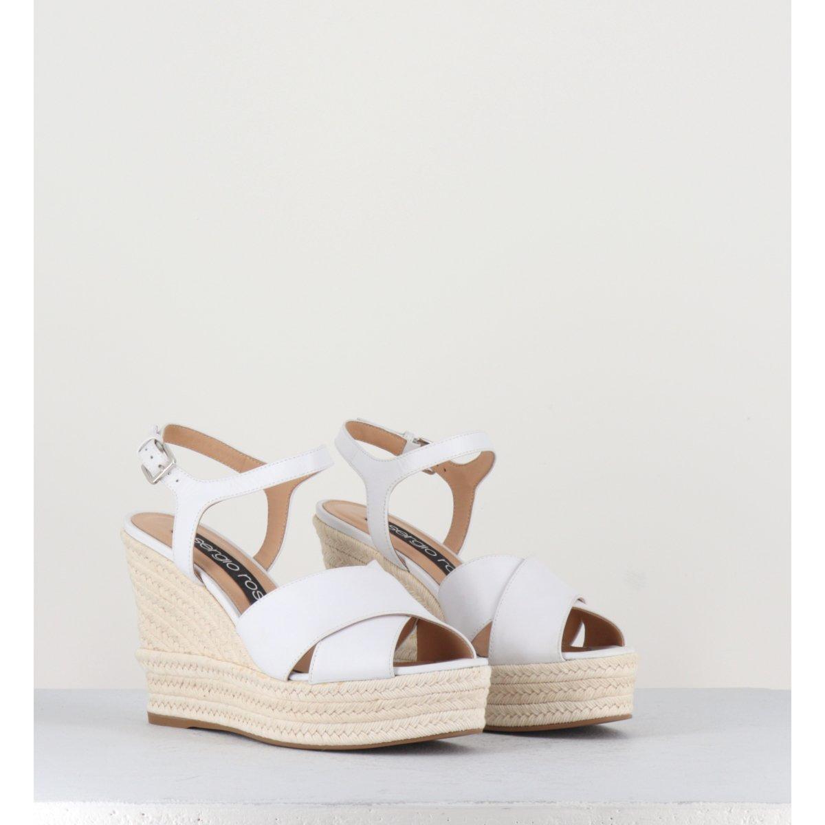 Sandales à semelles compensées en cuir blanc Sergio Rossi - A84490
