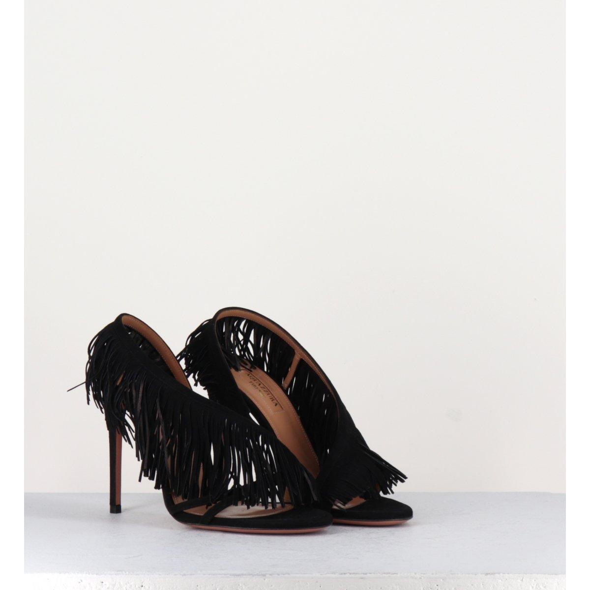 Sandales à talons hauts à franges noir Aquazzura - WILD FRINGE SANDAL105