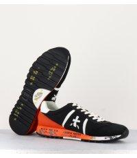 Baskets en cuir et textile noir et orange PREMIATA pour hommes - LUCY 3758