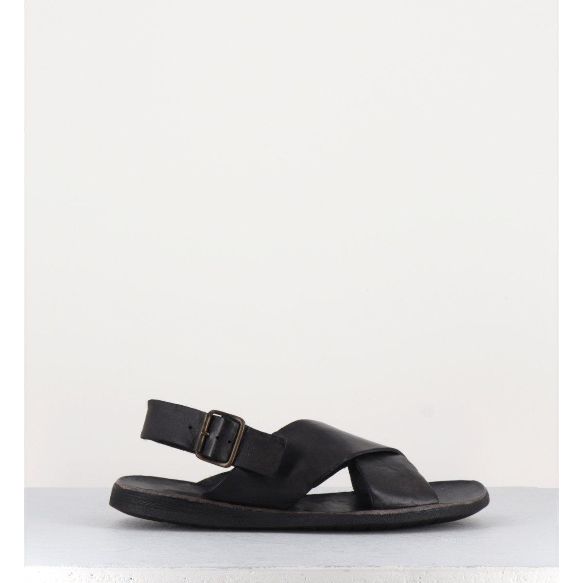 Sandales en cuir noir pour homme 46719 - Brador Shoes