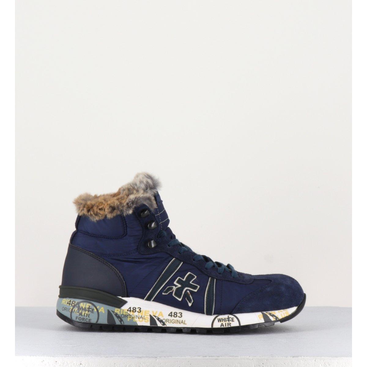 Sneakers montante fourrée en cuir bleue ALAN2637 - Premiata