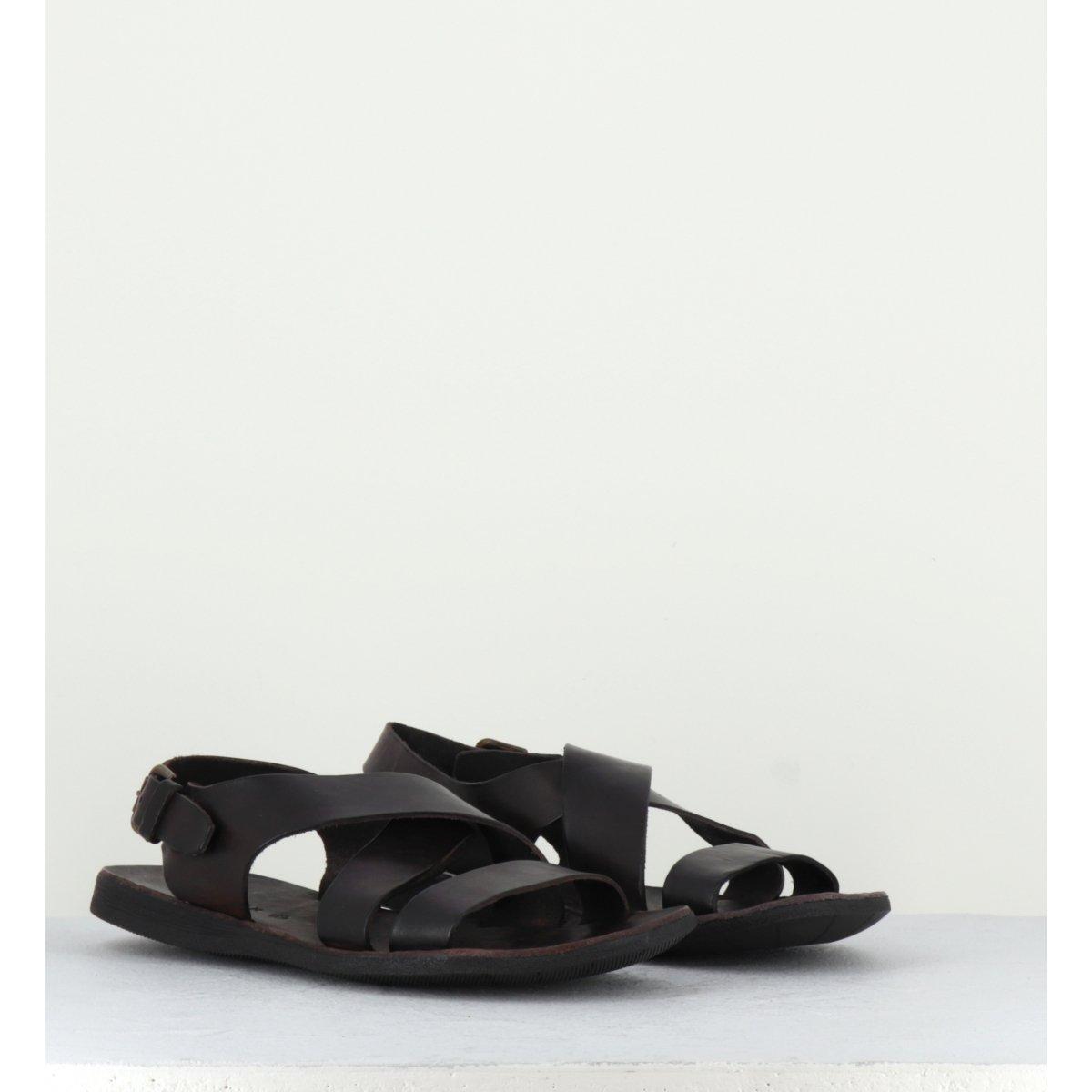 Sandales en cuir marron pour hommes Brador Shoes - 46518MA