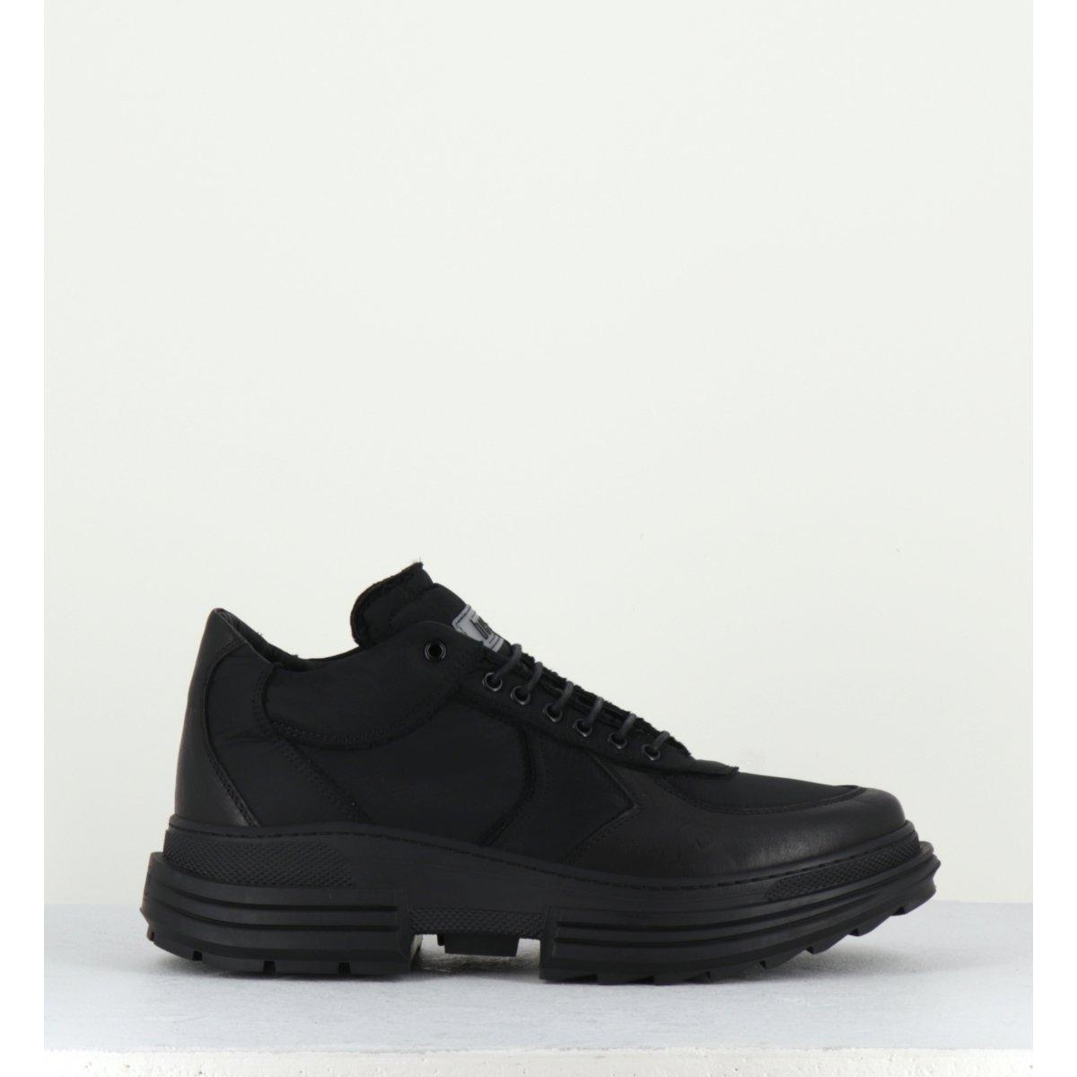 Baskets en cuir et toile noir Beyond shoes pour hommes - BASTIN