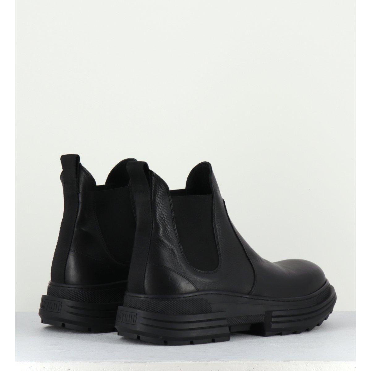 Bottines en cuir et toile noir Beyond shoes pour hommes - PATRIK