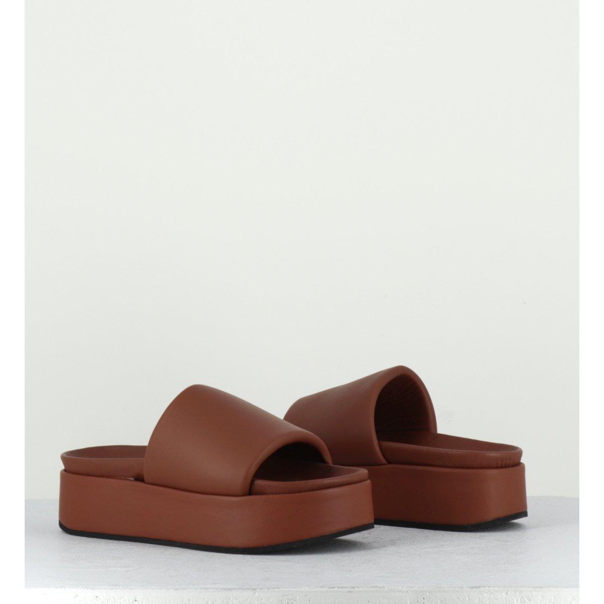 Sandales mules à plateforme en cuir cognac Giulia Taddeucci - 1719248