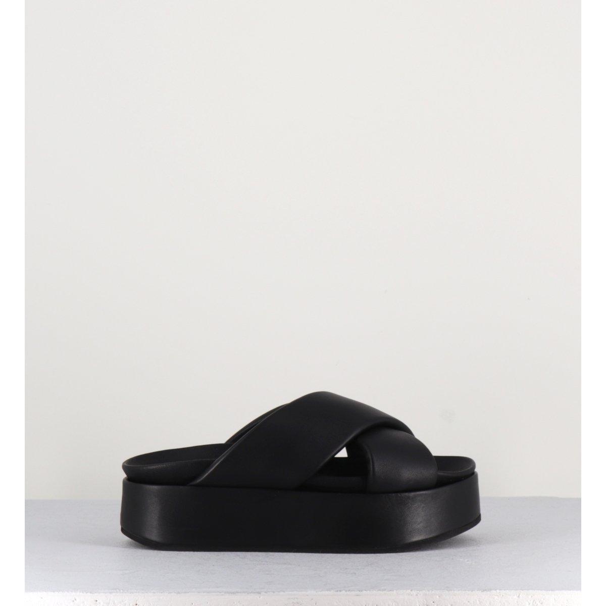 Sandales mules à plateforme en cuir noir Giulia Taddeucci - 1719247