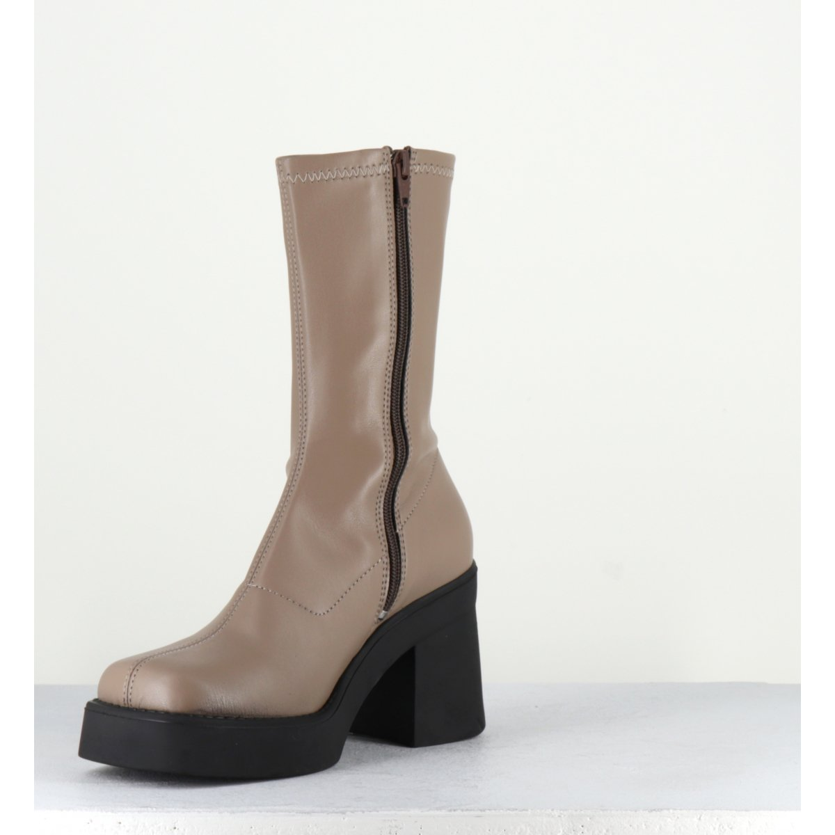 Boots stretch taupes à plateformes - NOELY TAUPE STRETCH