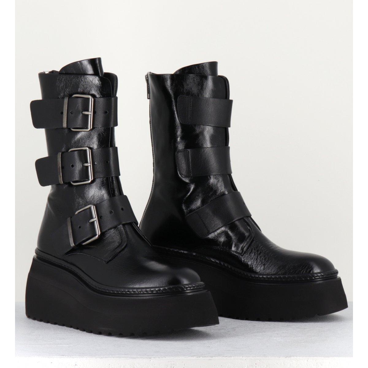 Boots plateforme micro cuir noir 3 boucles - 7280 SHINY NERO