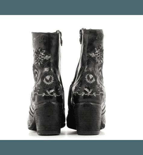 Bottines en cuir brodé noir 1197N - Fauzian Jeunesse