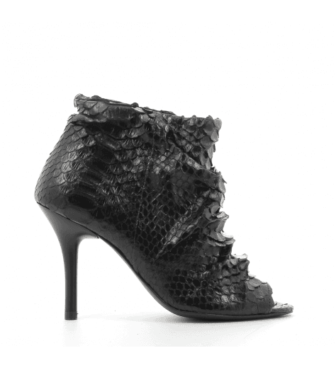 Bottines à talons en python noir AERIN BLACK - FURY LONDON