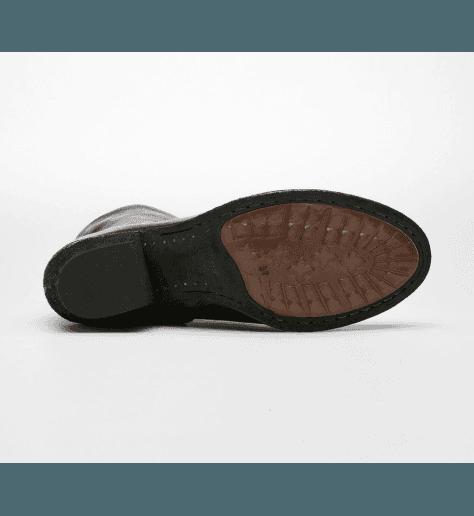 Bottines ou boots courtes à talons en cuir noir PLAISIR - Officine Creative