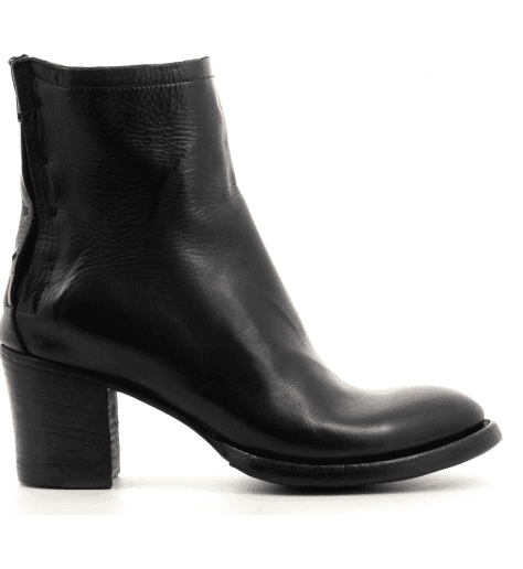 Bottines à talon bottier en cuir noir 3417- Silvano Sassetti