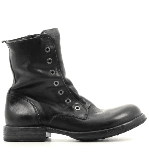 Bottines plate style rangers noir Moma pour hommes - 53807