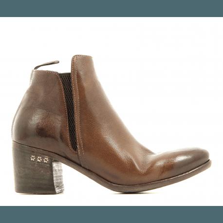 Bottines petit talon en cuir camel TESSA45045C- Alberto Fasciani