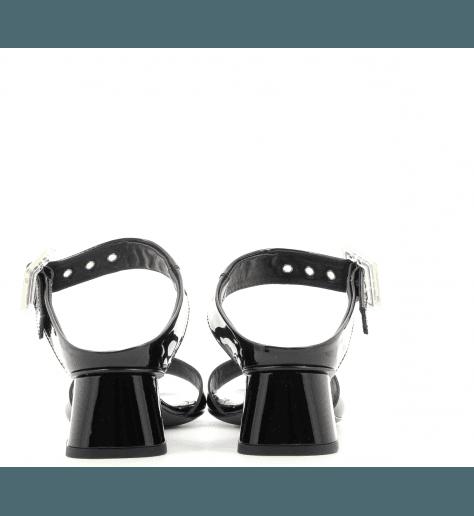 Mules à talons en cuir vernis noir D651001- AGL