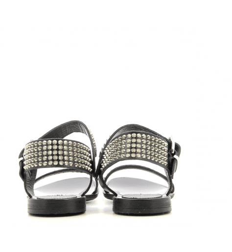 Sandales cloutées argent en cuir noir B3494 - Garrice collection