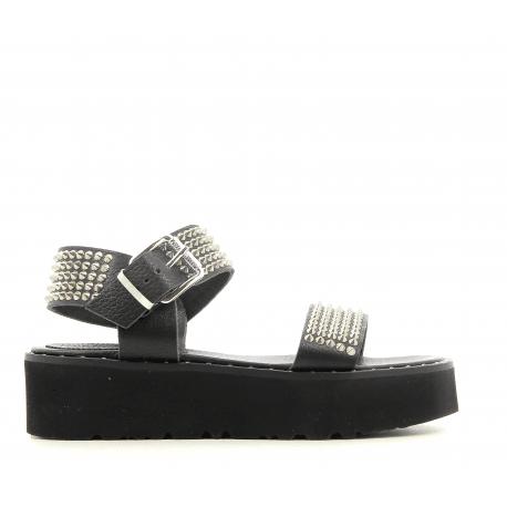 Sandales semelle épaisse noir cloutée argent 5347 - Garrice collection