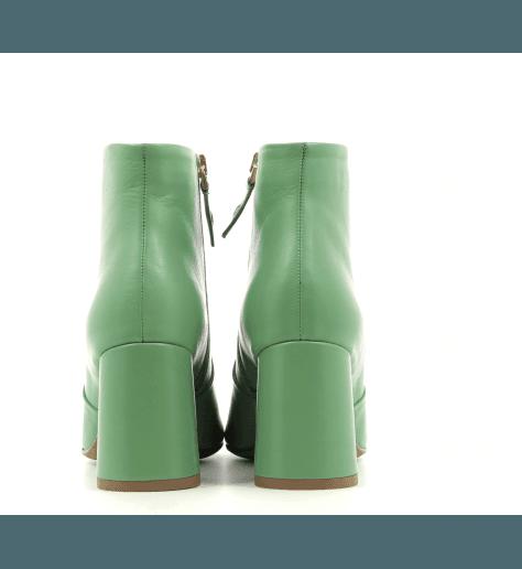 Bottines à talon en cuir vert B3523 VERT - Garrice collection