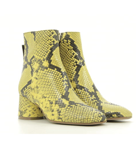 Bottines à talon en cuir jaune B3494 - Garrice collection