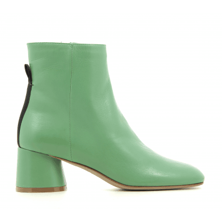 Bottines à talon en cuir vert B3494 - Garrice collection