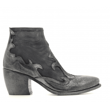 Santiags à talon en cuir et textile noir 5510 - Garrice collection