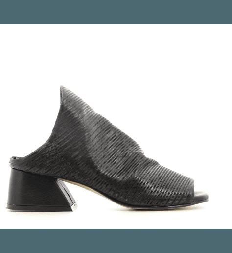Mules à talons en cuir noir JF00 NOIR - POESIE VENEZIANE