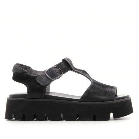 belle et charmante sur les images de pieds de produit chaud Sandales plateformes en cuir noir E9-027- Lofina - Garrice