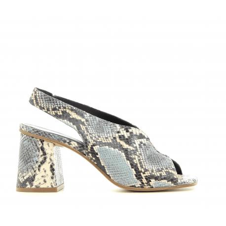 Sandales à talons bleu en cuir estampillé python JKA02 Bleu - POESIE VENEZIANE