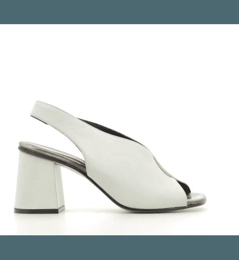Sandales à talons blanc en cuir estampillé python JKA02 BLANC - POESIE VENEZIANE