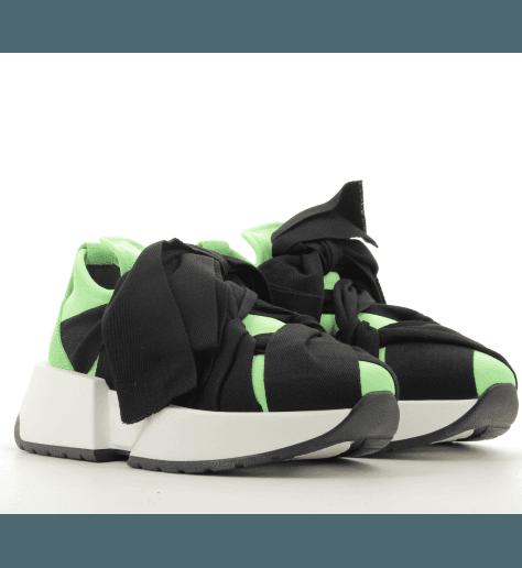 Sneakers basses en cuir vert et noir à semelles épaisses S40WS0112/T7281- MM6 Martin Margiela