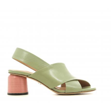 Sandales en cuir vert et talons rose ALICE05V - Halmanera
