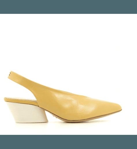 Escarpins pointus en cuir jaune julien14- Halmanera