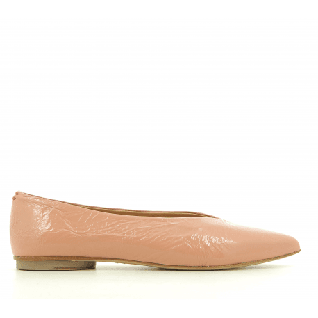 Ballerines pointues en cuir rose LOU03r- Halmanera