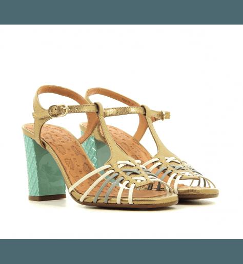 Sandales à talon structuré en cuir multicolore bronze CHIE MIHARA - BANDIDA