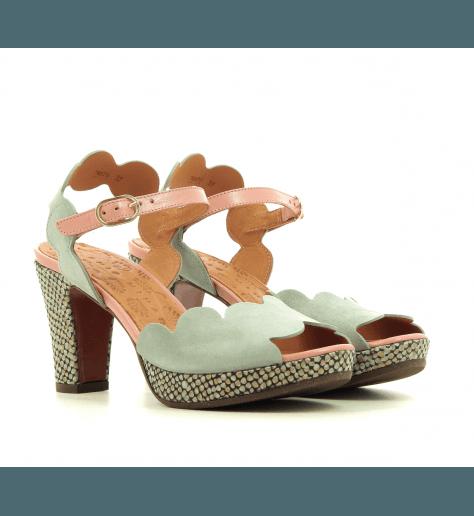 Sandales à talon et patin en veau velour vert d'eau et rose CHIE MIHARA - EVOLET34
