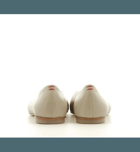 Ballerines pointues en cuir gris beige Halmanera - LOU03G