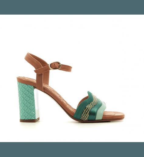 Sandales à talon structuré en cuir multicolore vert CHIE MIHARA - BAOLA