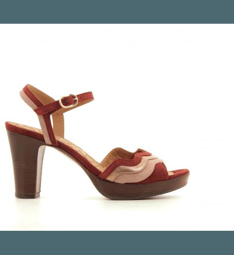 Sandales à talon et patin en veau velours brique CHIE MIHARA - ENEA