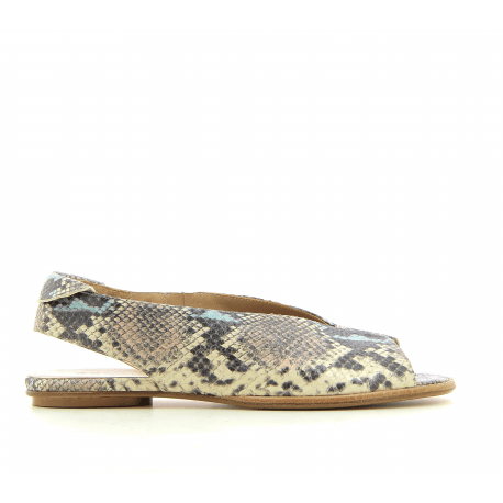 Sandales plates en cuir estampillé python 2314 PYTHON- Garrice Collection