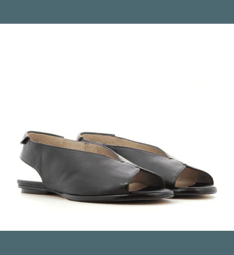 Sandales plates en cuir noir 2314- Garrice Collection
