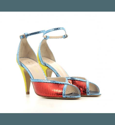 Sandales à talon et bride cheville en cuir multicolore Lenora - LISA MULTI1