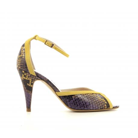 Sandales à talon et bride cheville en cuir jaune Lenora - LISA JAUNE