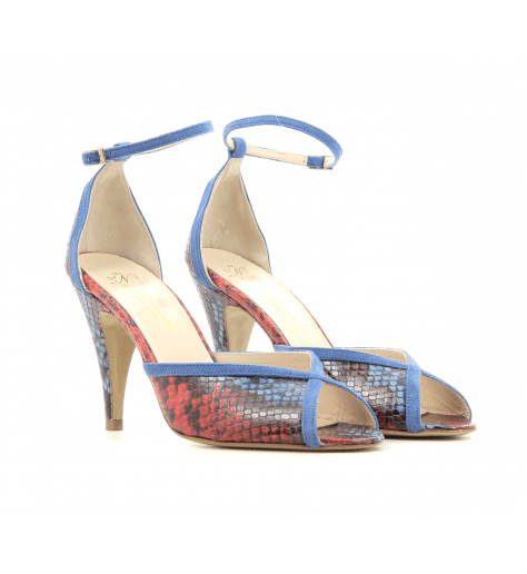 Sandales à talon et bride cheville en cuir bleu et jaune Lenora - LISA BLEU