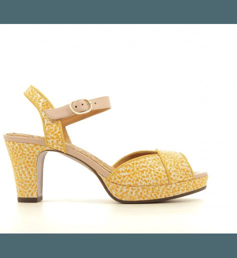 Sandales petits talons en cuir moucheté jaune Chie Mihara - NATILLA SUN