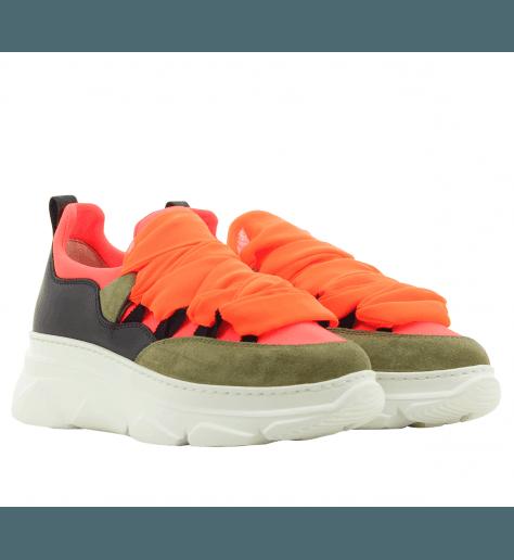 Baskets à semelles épaisses khaki et orange 181 by Alberto Gozzi - KYOG-252LYV
