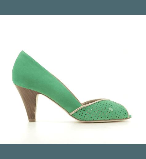 Escarpins à bout ouvert en veau velours vert New Lovers shoes - KIKI GREEN
